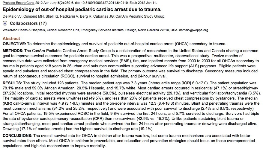 ped arrest outcomes in trauma